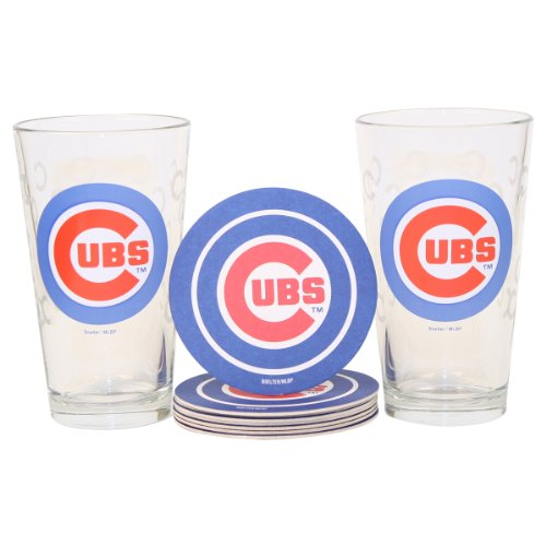 MLB Pint Glass and Coaster Set (2 Pack) - Chicago Cubs