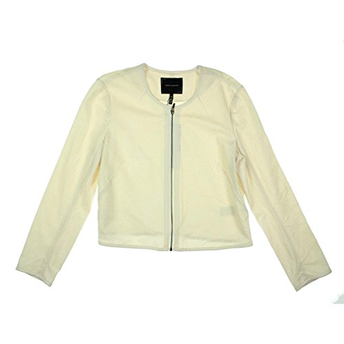 (Robert Rodriguez 7123 Womens Brianna Ivory Perforated Faux Leather Zip Front Jacket XL)