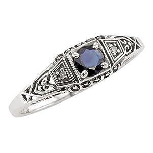 Jansjewells Art Deco Style Sterling Silver Filigree .35ct Sapphire & Diamond Ring