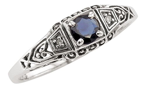 Jansjewells Art Deco Style Sterling Silver Filigree .35ct Sapphire & Diamond Ring