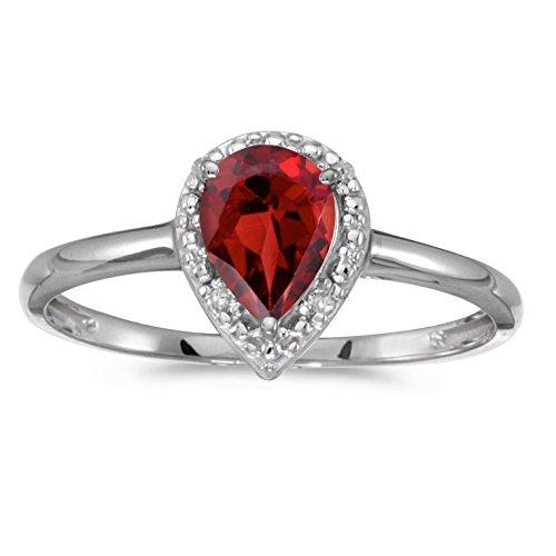 Ring Gold Garnet White (14k White Gold Genuine Red Birthstone Solitaire Pear Garnet And Diamond Wedding Engagement Ring - Size 7.5 (0.63 Cttw.))