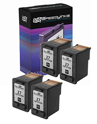 Speedy Inks Remanufactured Ink Cartridge Replacement for HP 27 (Black, 4-Pack)