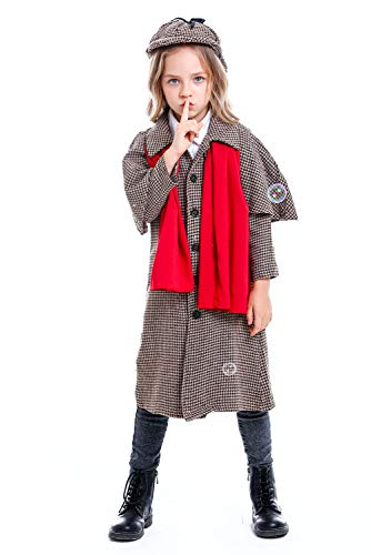 Halloween Girls Boys Holmes Detective Cosplay Costume Coat Victorian Button Down Jacket Outfit (XL/150-165, Girls) -