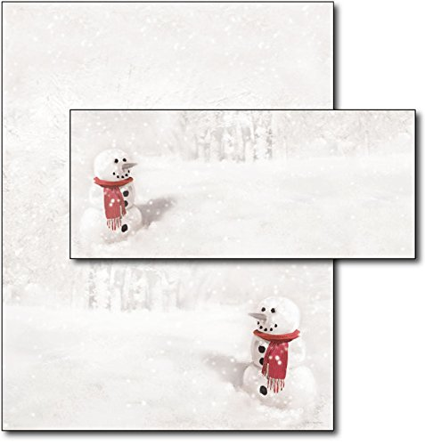 Snowman in Red Scarf Letterhead & Envelopes - 40 Sets