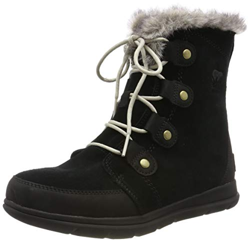 - Sorel Womens Explorer Joan Snow Suede Rain Winter Ankle Waterproof Boots - Black/Dark Stone - 7