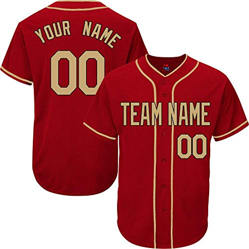 Scarlet Custom Baseball Jersey for Men Women Youth Button Down Embroidered Your Name & Numbers S-5XL Gold - 49ers Jersey Custom