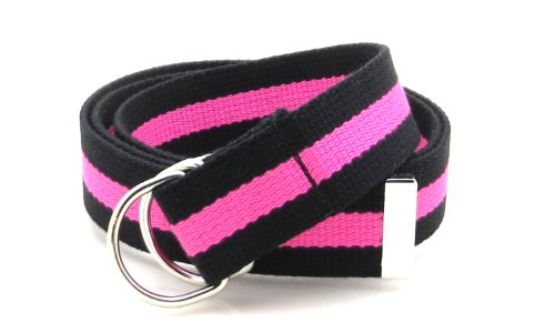 Pink D-ring Belt - Canvas Web Belt D-Ring Buckle 1.25