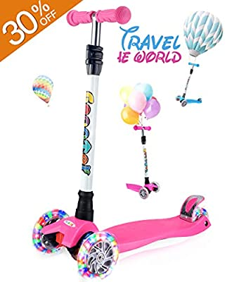OUTON Kick Scooter for Kids 3 Wheel Toddler Scooter 4 Adjustable Height Lean to Steer Kids Scooter PU 4 Color Light up Wheels from OUTON