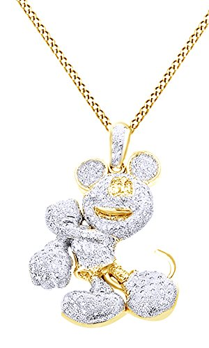 Round Cut Cubic Zirconia Mickey Mouse Hip Hop Pendant in 14k Yellow Gold Over Sterling Silver (4 Cttw) by AFFY