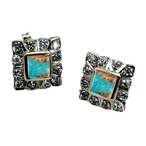 CHOOSE YOUR COLOR Natural Gemstones Silver Stud Earrings For Women Wedding Jewelry Gift Cluster ()