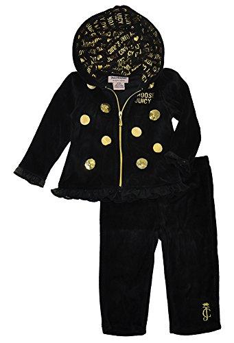 Juicy Couture Baby 2 Pieces Jog Velour Set, Black, 3/6 Months