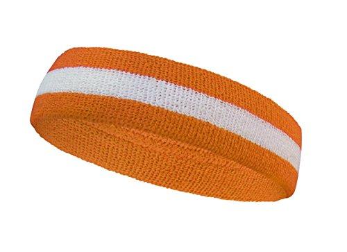 COUVER Premium Quality Halloween Striped Orange Sweat Headband Terry Cloth - White/Light Orange