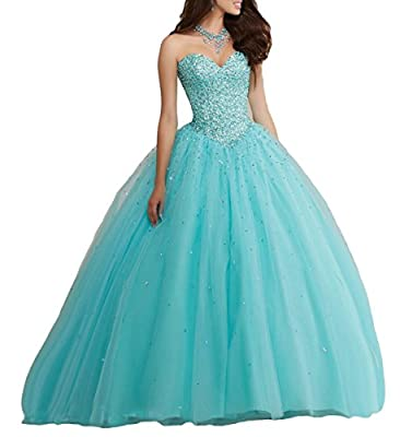 Beilite Sweetheart Crystal Tulle Prom Ball Gown Quinceanera Dresses