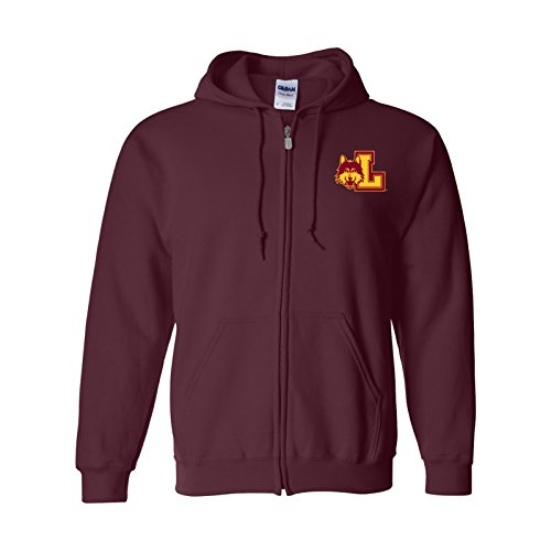 UGP Campus Apparel AZ07 - Loyola University Chicago Ramblers Primary Logo LC Full Zip Hoodie - Large - Maroon