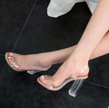 ZHUDJ High Heels_Sommer Kristall mit Peep Pumps Toe Pumps Peep Zeigen Hochhackigen Sandalen Apricot cbf2a7