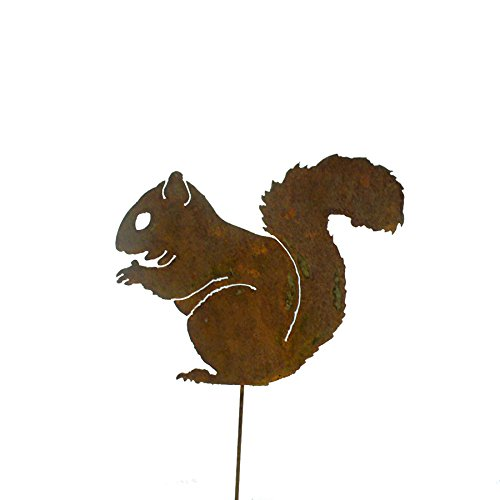 Elegant Garden Design Nibbling Squirrel Garden Pick, Rusty Patina