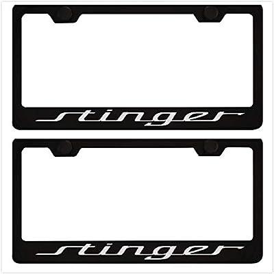 Qptimum Stinger Black Racing Stainless Steel License Plate Frame Cover Stinger (2): Automotive
