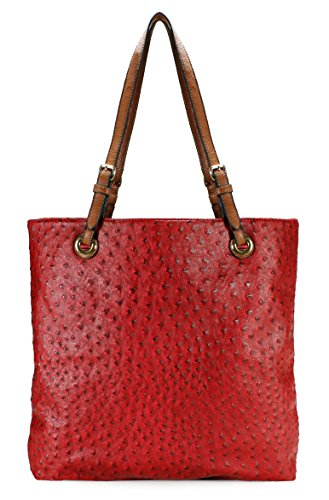Zippered Faux Leather Purse - Scarleton Ostrich Large Tote H115610 - Red