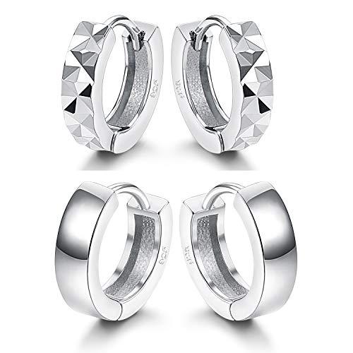 Fiasaso 2 Pairs 925 Sterling Silver Hoop Earrings for Women Small Huggie Earrings Set 10-14MM 2 Pair Hoop Earring