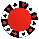"Custom & Unique {7'' Inch} 16 Count Multi-Pack Set of Medium Size Round Circle Disposable Paper Plates w/ Classic Poker Car Game Black Jack Casino Chips Party Event ""Black, Red & White Colored"""