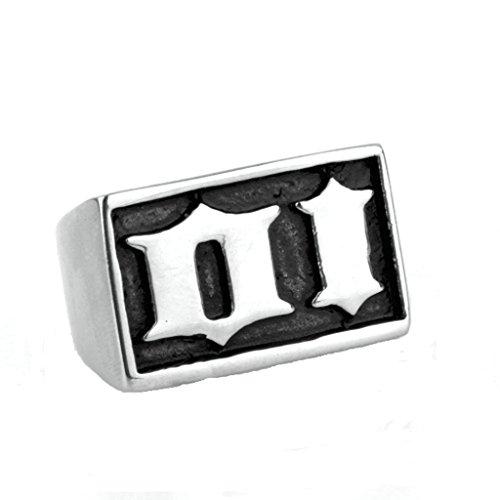 Epinki Jewelry Stainless Stiletto Vintage Punk Rock Men Silver Goth Harley Davidson Io Ring 2CM Size 12
