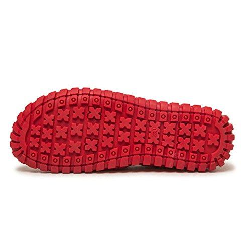 Scarpe Da Donna Moda In Pelle Socofy, Slip On Flat Casual Moda Fatta A Mano Cuciture Bocca Superficiale Rotonda Donne Incinte Mocassino Rosso