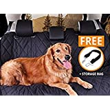 "Pet Seat cover, Car Seat Cover For Pets - Pet Car Seat Cover By Golden Ranch Pets - 54""x58"", Waterproof, Rubber Non Slip Backing, Seat Anchors, Easily Cleaned, Bench/Hammock Style, Storage Bag"