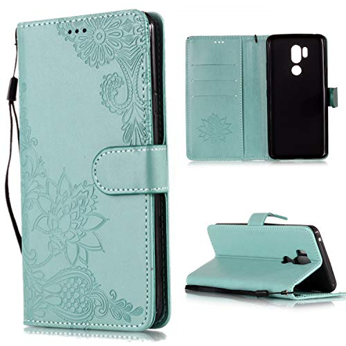 Price comparison product image Shinyzone Wallet Case for LG G7, LG G7 ThinQ Case Embossed Henna Mandala Pattern Series, Smart Stand and Magnetic Closure Leather Folio Flip Cover with ID Credit Card Slots-Green