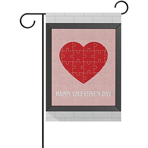 Staropor Love Heart Puzzle Valentine Frame Garden Flag Home