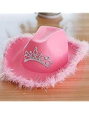 Vrouwen Roze Cowboyhoed Brede Rand Hoed Cowgirl Cap Met Tiara Feather Rand Westerse Stijl Meisjes Kostuum Accessoires Feesthoed buitenshuis