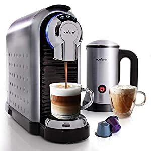 NutriChef Nespresso Machine Coffee & Cappuccino Maker with Milk Frother - Compatible with Nespresso Coffee Capsule Pods - Instant Heating and 3 Brewing Sizes - PKNESPRESO70