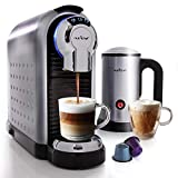 NutriChef Espresso Coffee Machine & Cappuccino Maker with Milk Frother - Compatible with Nespresso Coffee Capsule Pods - Instant Heating and 3 Brewing Sizes - PKNESPRESO70