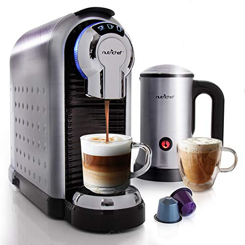 NutriChef Espresso Coffee Machine & Cappuccino Maker with Milk Frother - Compatible with Nespresso Coffee Capsule Pods - Instant Heating and 3 Brewing Sizes - PKNESPRESO70 (Best Instant Espresso Machine)