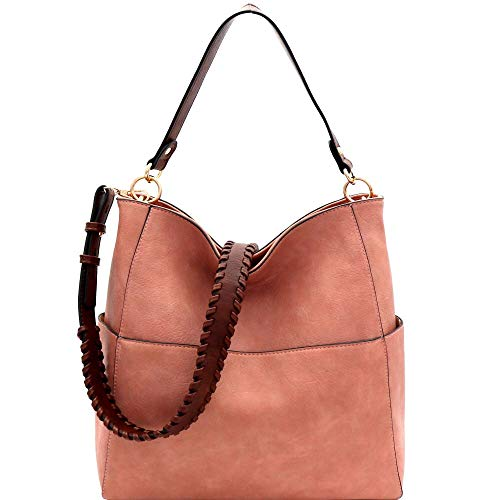 Whipstitched Strap Multi-Pocket PU Leather Hobo Purse Bag ()