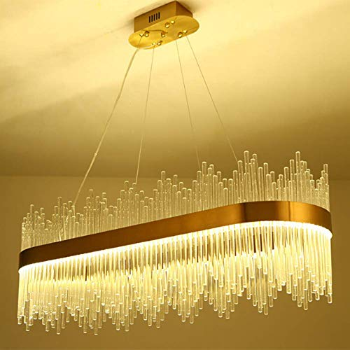 ZQYR Light# Crystal Chandelier Modern Oval Crystal Personality Creativity Pendant Lamp Dining Room Hanging Chandeliers LED Lights [Energy Class A]