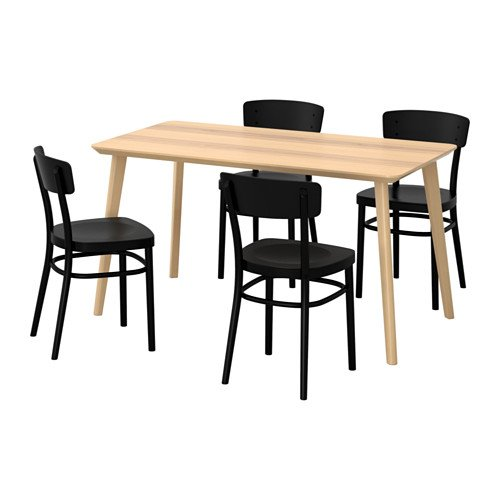 Ikea Table and 4 chairs, ash veneer, black 20204.20514.3422