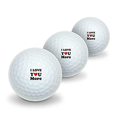 I Love You More with Heart Novelty Golf Balls 3 Pack