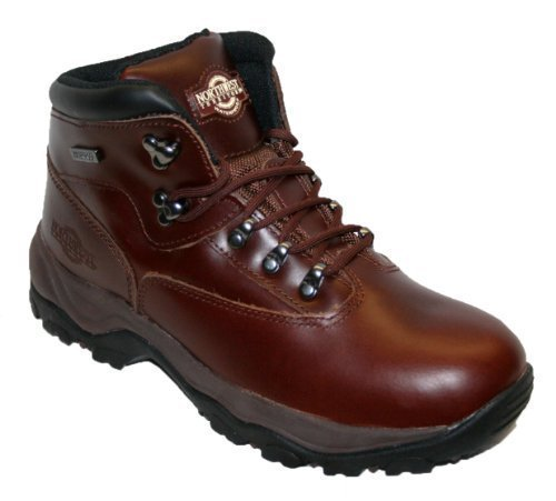 Northwest Territory Inuvik Leather Hiking Boots Waterproof Trekking Mens  Walking Shoe (9, Cherry)