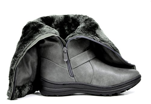TRAUM-PAAR-Frauen Winter voll Pelz gefüttert Reißverschluss Schnee kniehohe Stiefel Kaninchengrauer Pu