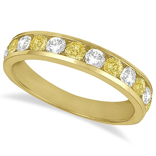 (White and Yellow Diamond Channel-Set Ring 14k Yellow Gold (1.05ctw))