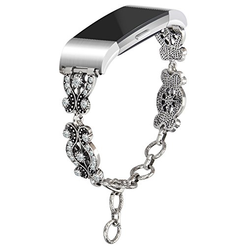 somoder for Fitbit Charge 2 Bands, Vintage Chain Jewelry Bracelet with Rhinestone Bling for Fitbit Charge 2, Ajustable 5.7 - 9.1