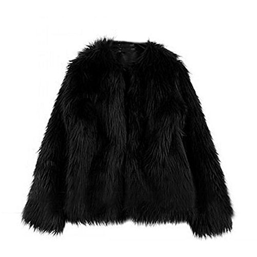 Funoc New Women Warm Faux Fur fleece Coat Winter Vintage Parka Jacket Collar (Vintage Faux Fur Coat)