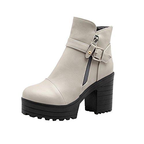 YE Damen Blockabsatz Ankle Boots Stiefeletten High Heels Plateau mit  Schnallen und Reißverschluss Elegant Schuhe Grau 75b05d770a