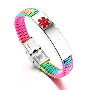 JF.JEWELRY Medical ID Alert Bracelet for Women Rainbow Nylon Braid Bracelet Adjustable Free Engraving