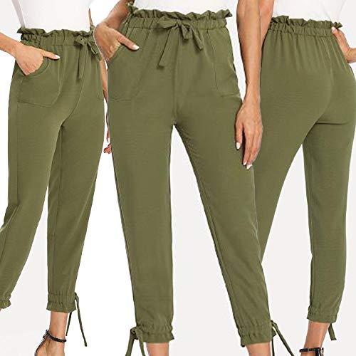 UONQD Womens Ladies Bow Pocket Trousers Long Pants Slim fit Leggings (Medium,Green) by UONQD (Image #5)
