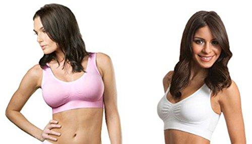 Genie Bra Womens Twin Pack (1X-Large, White/Pink) ... Bra Hook As Seen On Tv