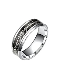 Black and Stainless Steel 8mm Comfort Fit Wedding Band Ring - Ginger Lyne Collection