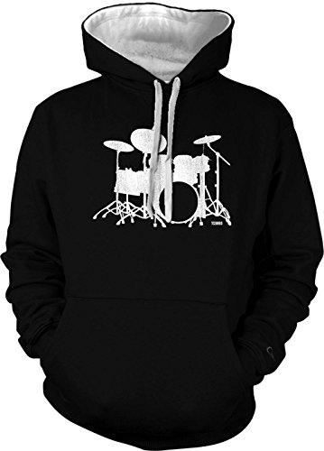Tcombo Drum Artistic Design - Silhouette - Drummer - Rockstar Men's 2 Tone Hoodie Sweatshirt (Large, Black/White String)