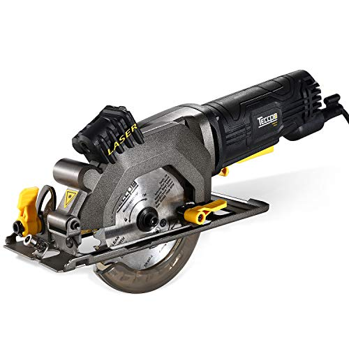 TECCPO Circular Saw, 4-1/2? 4 Amp 3500 RPM Compact Circular Saw with Laser Guide, 24T Carbide Tipped Blade for Wood, 7? Scale Ruler, Max Cutting Depth 1-11/16'' (90°), 1-1/8'' (45°) - TAMS24P