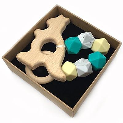 Wendysun Custom Organic Wood Animal Play Gym Toy Teething Toy Baby Teether Silicone Toy (Kangaroo): Arts, Crafts & Sewing